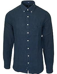 Gant - Chemise Gant en lin bleu foncé