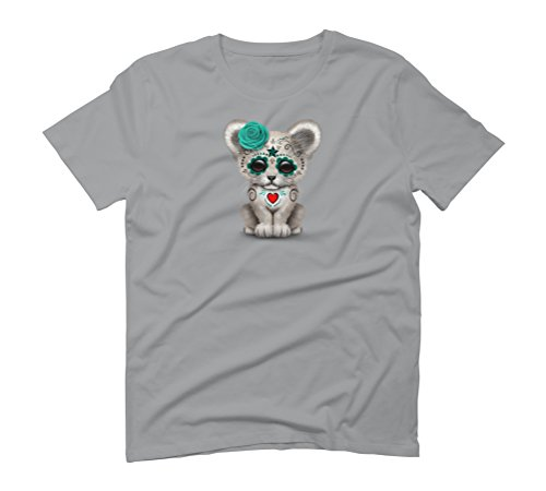 Blue Day of the Dead Sugar Skull White Lion Cub Men's Graphic T-Shirt - Design By Humans Opal