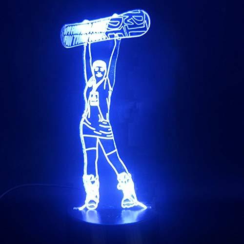Lámpara Logo Chica esquí Colorida Sensor táctil