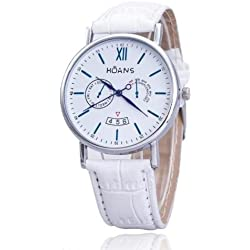 Men Wrist Watches - HUANS Men Rome digital Article Leather Band Quartz Wrist Watches White Band+Silver Dial