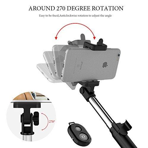 Anggo kabelloser Bluetooth Selfie-Stick, ausziehbar, mit Fernbedienung und integriertem Stativ für Reisen, Heim-Videos - kompatibel mit iPhone, Samsung, Android Handys - 3