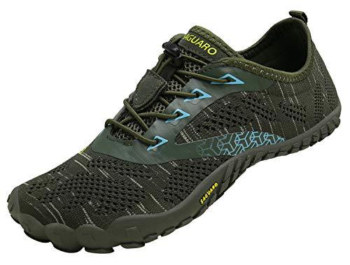 SAGUARO Barfußschuhe Herren Damen Traillaufschuhe Leicht Training Fitnessschuhe Wander Wald Strand Straßenlaufschuhe Outdoor & Indoor Sports Schuhe für Frauen Männer, Grün, 45 EU