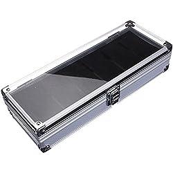 SODIAL(R)6 Grid Aluminium Watch Storage Case Bracelet Organiser Display Box Pillow Holder