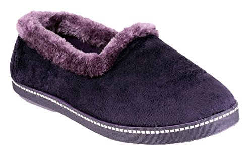Mirak Ladies Dijon Faux Fur Accented Textile Stitch Slipper Purple Violet foncé