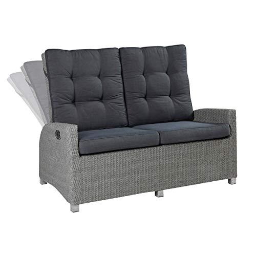 Wholesaler GmbH LC Garden 2er Sofa Zweisitzer Modesto Living grau verstellbare Rückenlehnen Polyrattan-Geflecht