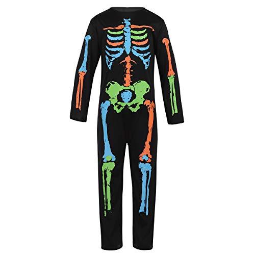 Alvivi Jungen&Mädchen Halloween Jumpsuit Karneval Verkleidung Skelett Overall Halloween Kinder Cosplay Kostüm Overall Leggings Bodysuit Schwarz 104-116/4-6 Jahre