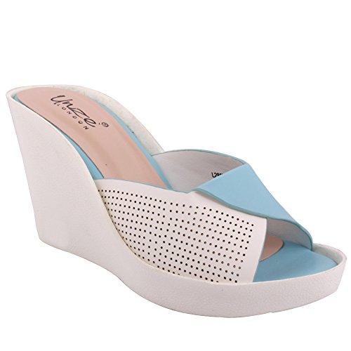 Unze Neuer Frauen-Dana 'Beleg auf mittlerer hoher Keil-Ferse beiläufige Plattform-Sandelholz-Schuhe Größe 3-8 - 90029-3 Weiß