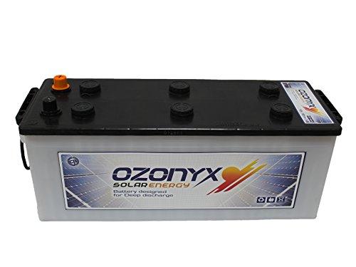 BATERÍA SOLAR OZONYX SOLAR ABIERTA 165AH Voltaje: 12V. Medidas: 513 x 190 x 223 mm. Peso: 36 Kg. Tipo de batería: Solar, Tracción Monoblock. Bajo mantenimiento. Capacidad en C100: 165Ah y en C20: 140Ah. Placa de separación entre celdas reforzadas. Pl...