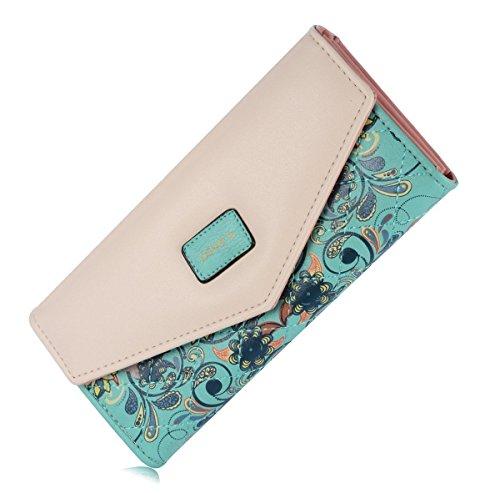 Elegant Blume Muster Frisch Fashion Süß Elegant Damen Portemonnaie Geldbörse (Grün Louis Vuitton)