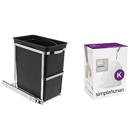 simplehuman Under Counter Pull-Out Bin, Commercial Grade - 30 L with Code K Plastic Custom Fit Bin Liner, Pack of 60,