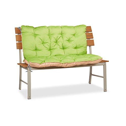 Relaxdays Cojín para Banco de Exterior con Respaldo, Algodón-Poliéster, Verde, 103x104x12 cm
