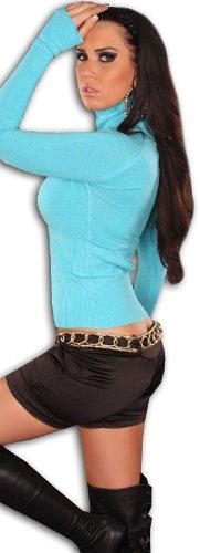 Instyle - Pullover da donna a maniche lunghe, con dolcevita turchese - turchese