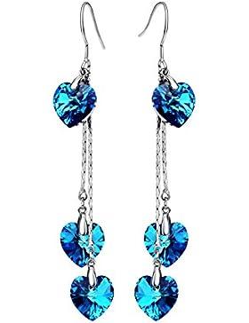 Neoglory Jewellery mit Swarovski® Elements Silber Ohrringe Herz blau hängend