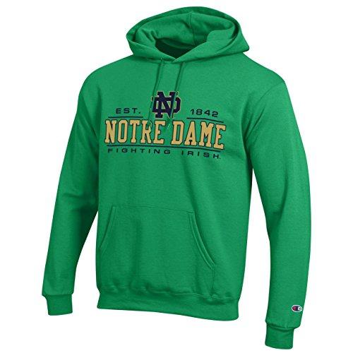 Adult Hooded Fleece (Champion Notre Dame Fighting Irish Adult Powerblend Hooded Sweatshirt - Green,)