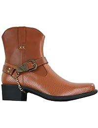 6f35eac582451 Bottines Homme Cowboy Hauteur Chevilles à Enfiler Style Western avec Boucle  Et Chaine Simili Cuir PU