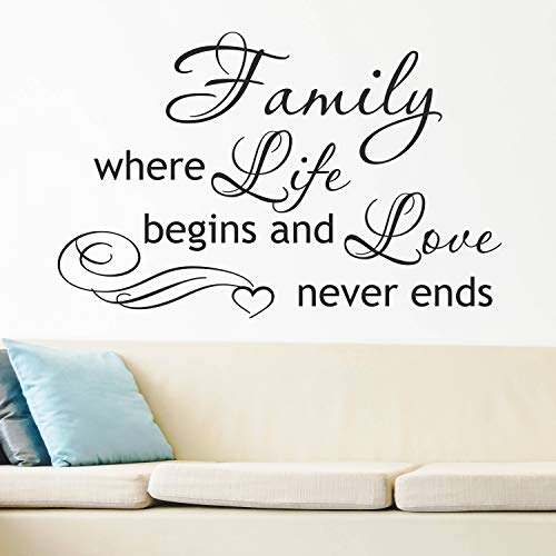mily Where Life Begins And Love Never Ends Wall Decal Vinyl Lettering Inspirational Wall Decal Quote Family Sign Mural for Home Bedroom Decoration Wall Decal Room Art Gift ()