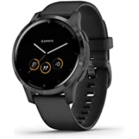 Garmin Vívoactive 4S, Smaller-Sized GPS Smartwatch, Features Music, Body Energy Monitoring, Animated Workouts, Pulse Ox Sensors and More, PVD Black/Slate