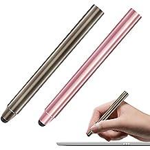 MoKo Stylus con Punta de Fibra - [2 Pzs] Universal 8mm Pluma de Alta Precisión , para Dispositivos de Pantalla Táctil Smartphones & Tabletas, iPad, iPhone, Samsung?Marrón y Rosa Oro