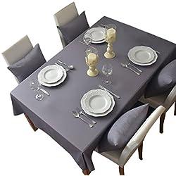 NiSeng Manteles para mesa rectangular y cuadrados Mantel Antimanchas para hosteleria de poliester Mantel moderno Decoracion de hogar Gris 90x90 cm
