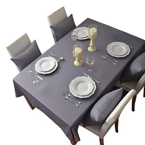 NiSeng Tovaglia da tavola in poliestere, Tovaglie Antimacchia Tovagliato ristorazione Tovaglia a quadri rettangolare tinta unita Grigio 140x200 cm