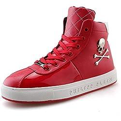 YAN Zapatos de hombre alto con cordones de calavera (color : Rojo)