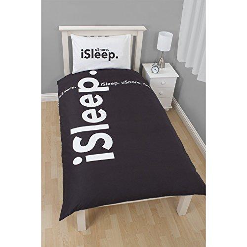 Parure de lit simple réversible ISpleep - Enfant (Lit double) (Noir/Blanc)