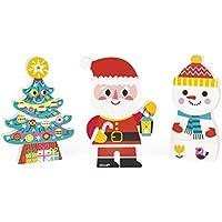 Janod Funny Magnets 3 Personajes magnéticos de Madera, Papá Noel y Amigos (J08033)