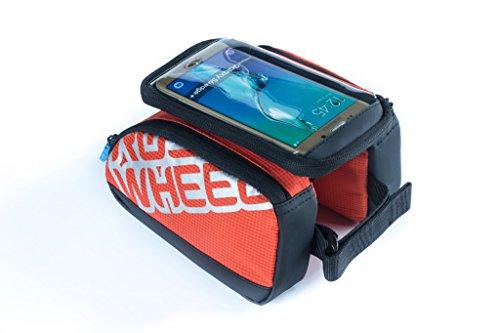 Tofern Rahmentaschen Doppeltaschen Fahrrad Steuerrohr Taschen mit 5.5 Zoll Schirm für Handy 1L, Orange