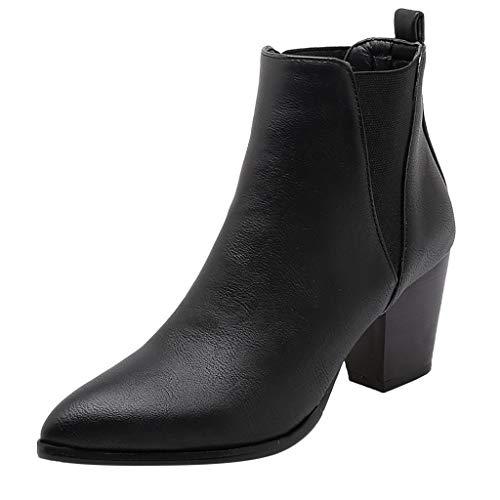 generisch Damen Stiefeletten Chelsea Boots mit Blockabsatz Profilsohle Frauen Retro Starker Absatz Reißverschluss Single Boot Student Large Size Ankle Boots -