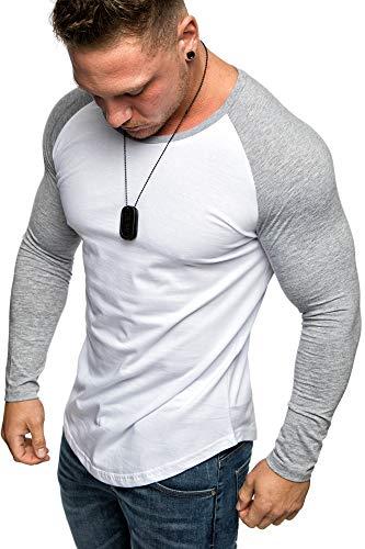 Amaci&Sons Oversize Herren Longsleeve Basic 2in1 Sweatshirt Crew Neck Basic O-Ausschnitt Shirt 1-0016 Weiß/Grau L