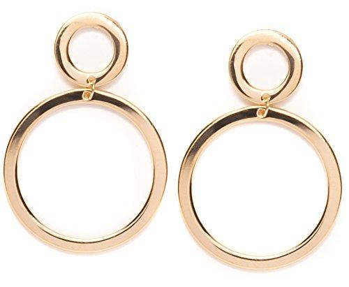 Happiness Boutique Damen Doppel Creolen Ohrringe in Goldfarbe | Offen Kreis Hängeohrringe mit Doppelten Ringen