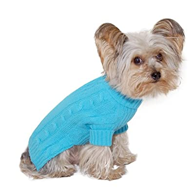 Designer Pet Clothes, Turquoise Turtleneck Dog Jumper, Classic Aran Knit