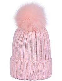 Lau s Cappelli invernali ragazzo berretto cappello a costine con pon pon di  pelliccia e609aa6145f5