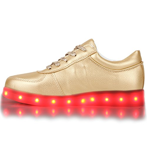 Sofort lieferbar aus DE - Leuchtende und Blinkende Damen Herren Kinder Mädchen Jungen Sneakers High und Low Led Light Farbwechsel Schuhe LED Licht Gold Low
