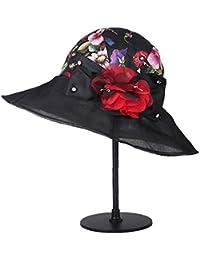 b2410c9bba508 Zhou Yunshan Sombrero de Seda de la Primavera y del Verano Sombrero de la  señora de la decoración Coreana de la Flor del plegamiento. (Color…