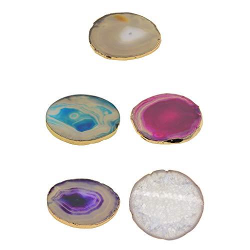 Hellery 5 Teilige Natürliche Achatscheiben Geode Stones, Getränke Untersetzer Cup Mat, Unregelmäßige Quarz Coaster Set Home Decoration, Getränk Geschenke, 60 -