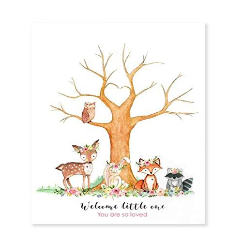 SCLPOSTER Poster Wald Tiere Fingerabdruck Baum Wald Tier Baby Dusche Dekor Geburtstagsgeschenk, A