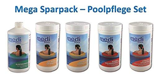 MEGA Spar-Pack 5,5 kg Poolpflege Set Chlor für kleine + große Schwimmbecken von mediPOOL mit Chlorgranulat, Langzeit-Chlotabletten, Algenschutz, pH-Plus Granulat und pH-Minus Granulat