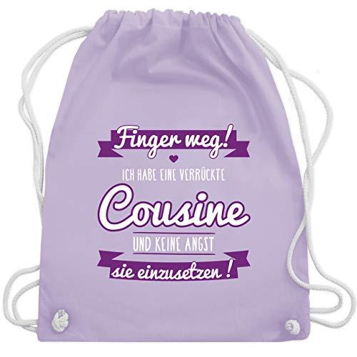 Kordel Extra Großer Schrift (Sprüche Kind - Ich habe eine verrückte Cousine lila - Unisize - Pastell Lila - WM110 - Turnbeutel & Gym Bag)