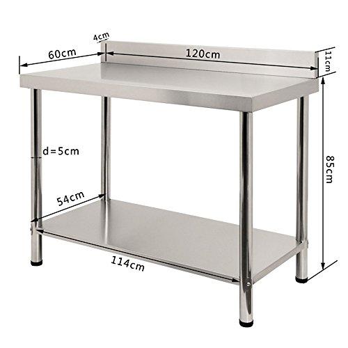 LARS360 Tavolo da lavoro in acciaio inox, per Cucina Professionale Acciaio  Inox Cucina Catering Tavolo Da Lavoro Per Cucina, L x B x H: 120 * 60 * 85  ...