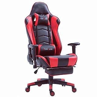 Top Gamer Ergonomische Fußstütze Computer Gaming Hohe Rückenlehne Drehstuhl Büro Stuhl mit Anpassung Kopfstütze und Lendenwirbelstütze Racing Stuh(Rot)