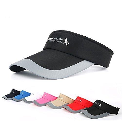 HYSENM Visor Baumwolle Einheitsgröße Unisex Cap mit Klettverschluss Einstellbar Anti-UV für Reisen Radsport Tinnesspielen Kappe, Schwarz