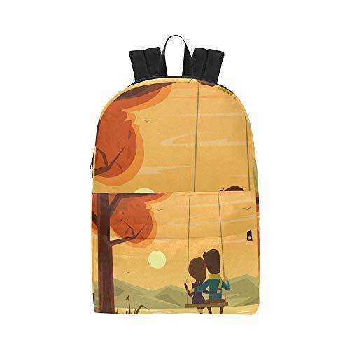 Schaukel Cartoon Cute Love Classic Cute Wasserdichte Laptop Daypack Taschen Schule College Kausal Rucksäcke Rucksäcke Bookbag Für Kinder Frauen Und Männer Reisen Mit Reißverschluss Und Innentasche (Frauen Rolling Laptop Tasche)