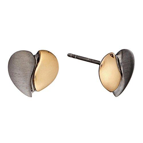 Silverly Pendientes En Plata De Ley .925 Pin Satén Plateado En Oro 14 K Corazón 2-Tinte