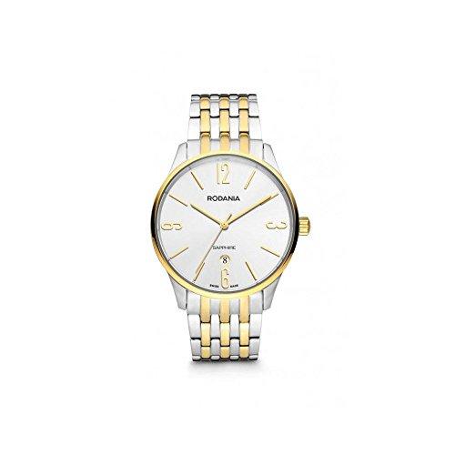Rodania Herren Armbanduhr 02514180Quarz (Batterie) Stahl vergoldet gelb Quandrante Silber Armband Stahl