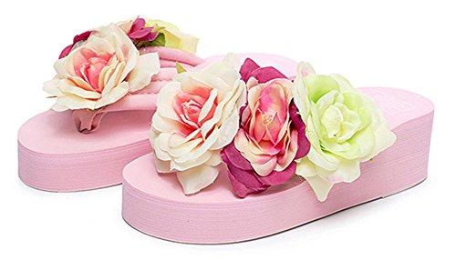 Good Night Coloré Roses décorées Été Beach sandale Talon compensé Flip Flops Rose