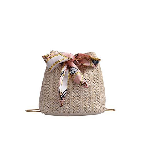 Dorical Stroh Crossbody für Mädchen Damen Handgewebte Schulter Umhängetasche Geldbörse,Sommer Strand Taschen mit Tunnelzug,Damentasche für Frauen Ausverkauf(Z04-Beige)
