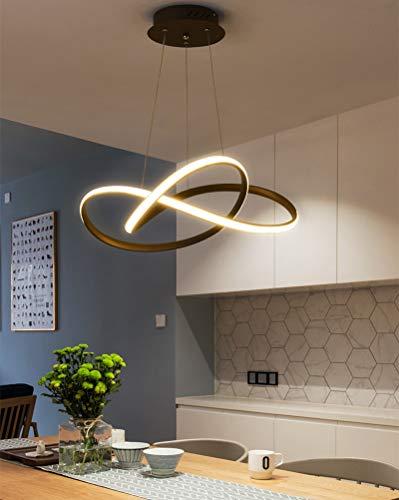 Pendelleuchte LED Dimmbar Esstisch Hängelampe Wohnzimmerlampe mit Fernbedienung Deckenleuchte 38W Landhaus Stil Acryl Lampenschirm Design Pendellampe für Schlafzimmer Esszimmer Küche Lampe (Schwarz)