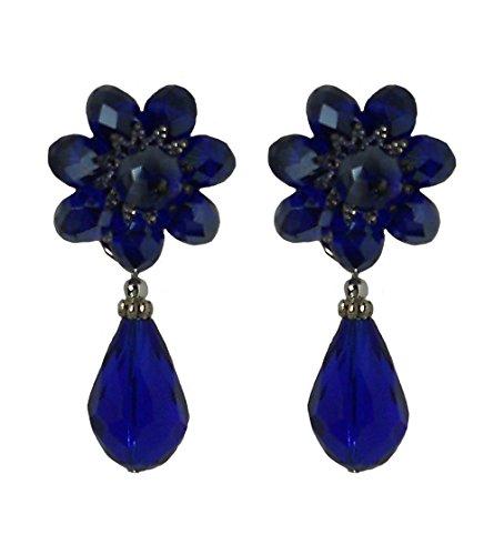 TAMU 1 BLUE - Orecchini clip diametro cm. 2, in cristallo Blu e goccia pendente, nickel free, lunghezza totale cm. 4,5