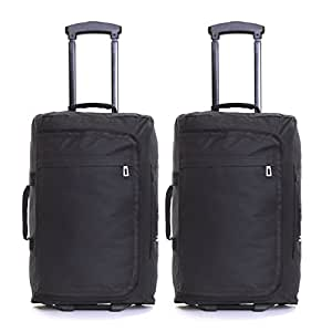 Set of 2 Super Lightweight Cabin Approved Wheeled Bags (Black)